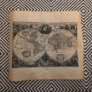 Vintage Look World Map Print on Vellum Wall decor